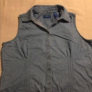 Karen Scott chambray button up vest